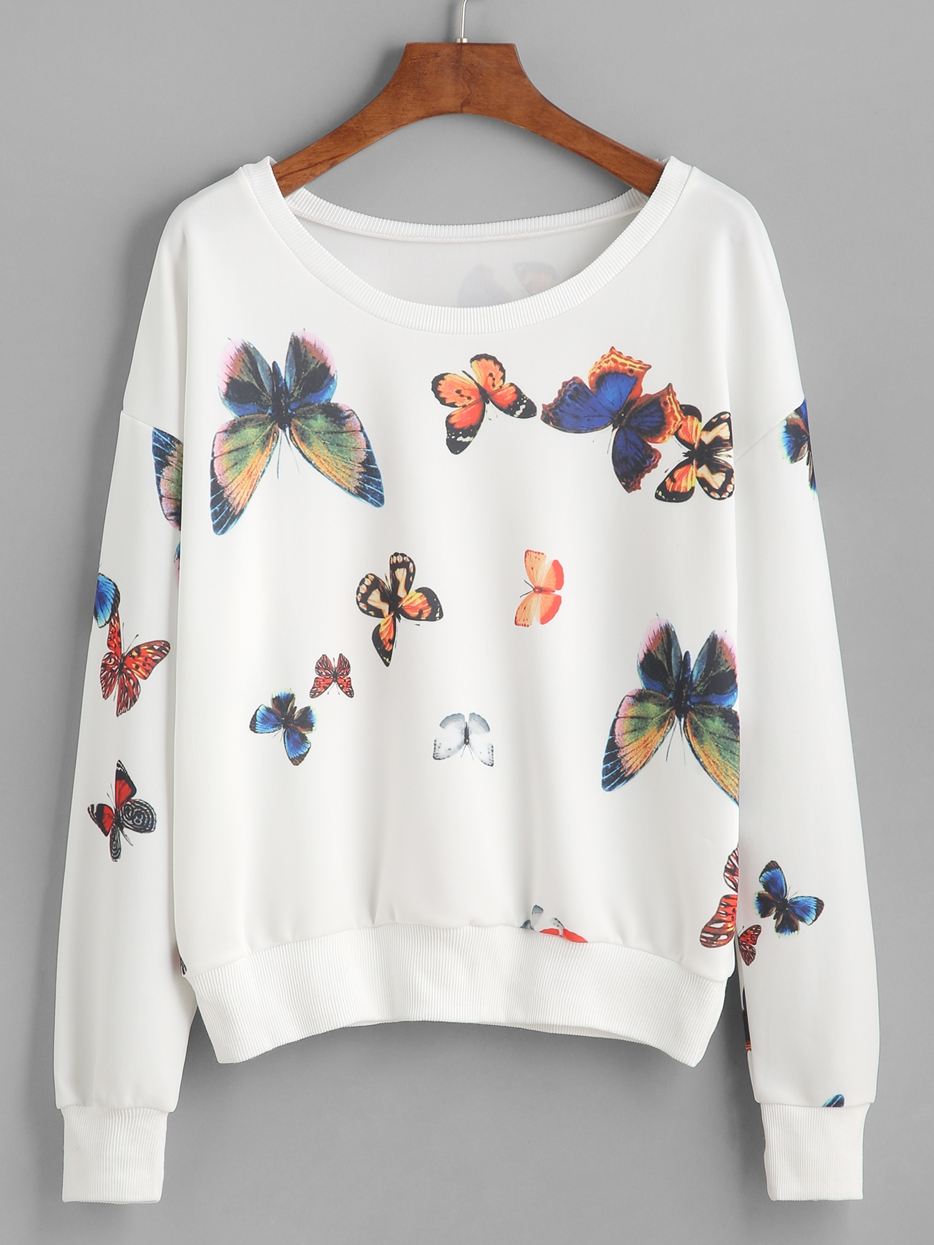 White Butterfly Print Drop Shoulder Sweatshirt drop shoulder grommet tie detail sweatshirt