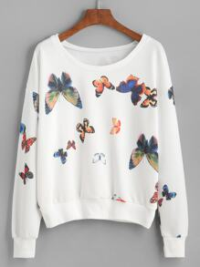 White Butterfly Print Drop Shoulder Sweatshirt