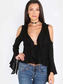 Ruffled Cold Shoulder Plunge Overlay Blouse BLACK
