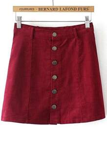 Red Single Breasted Corduroy Skirt