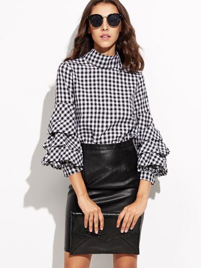 Black Gingham Cutout High Neck Billow Sleeve Top