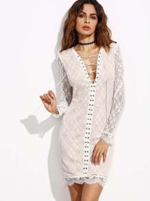 White Lace Up V Neck Scallop Lace Dress