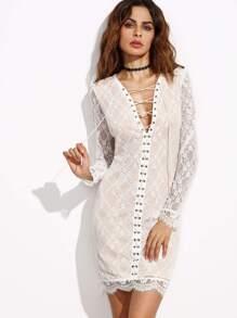 White Lace Up V Neck Scallop Lace Dress