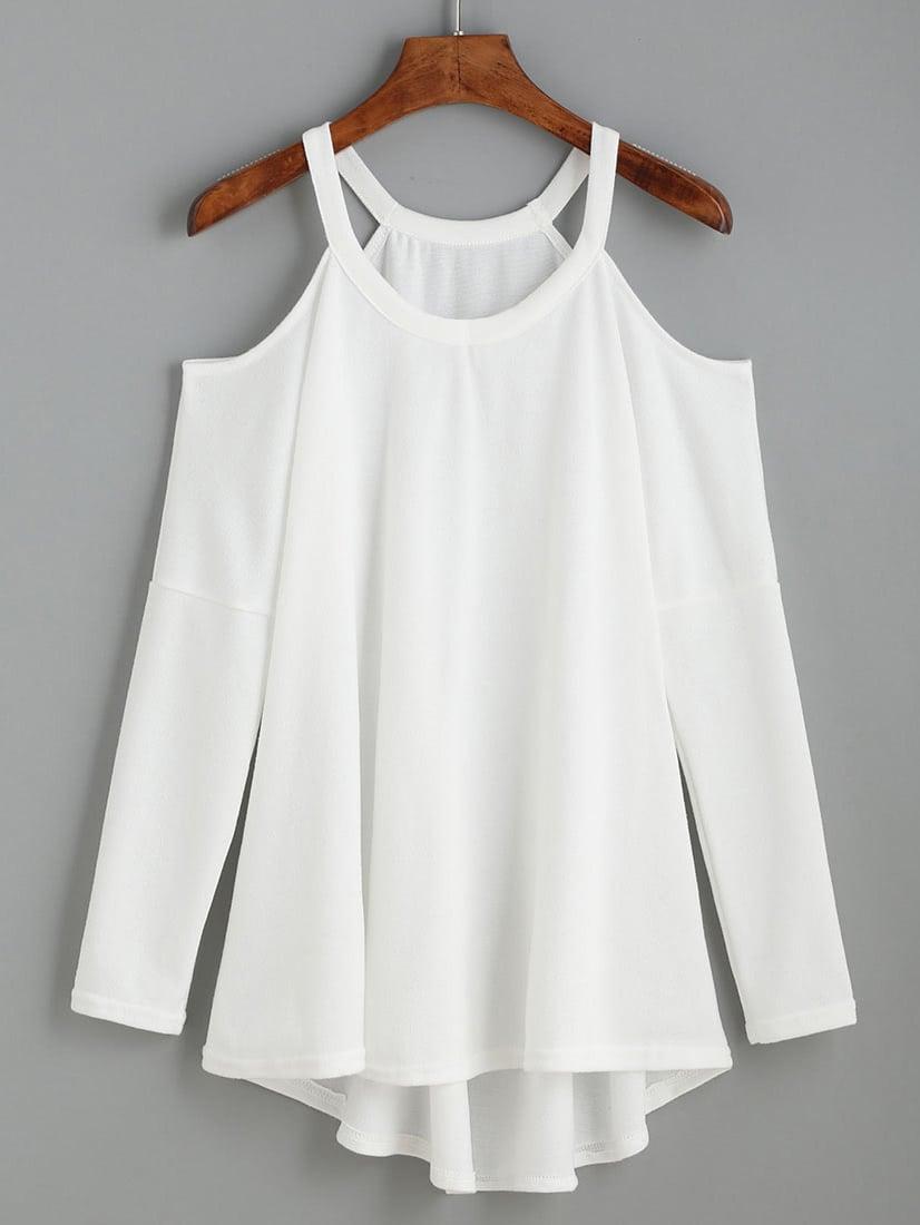 cold shoulder high low knit t shirt shein sheinside. Black Bedroom Furniture Sets. Home Design Ideas