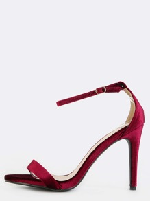 Velvet Single Sole Heels BURGUNDY