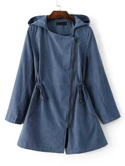 Blue Hooded Asymmetric Zipper Drawstring Outerwear