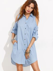 Blue Cold Shoulder Buttons Rolled Up Sleeve Shirt Dress
