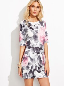 White Floral Print Sheath Dress