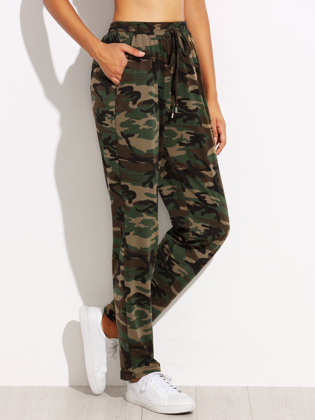 Image of Camo Print Drawstring Jersey Pants
