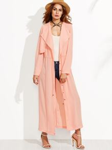 Pink Drape Collar Layered Drawstring Duster Coat With Gun Flap