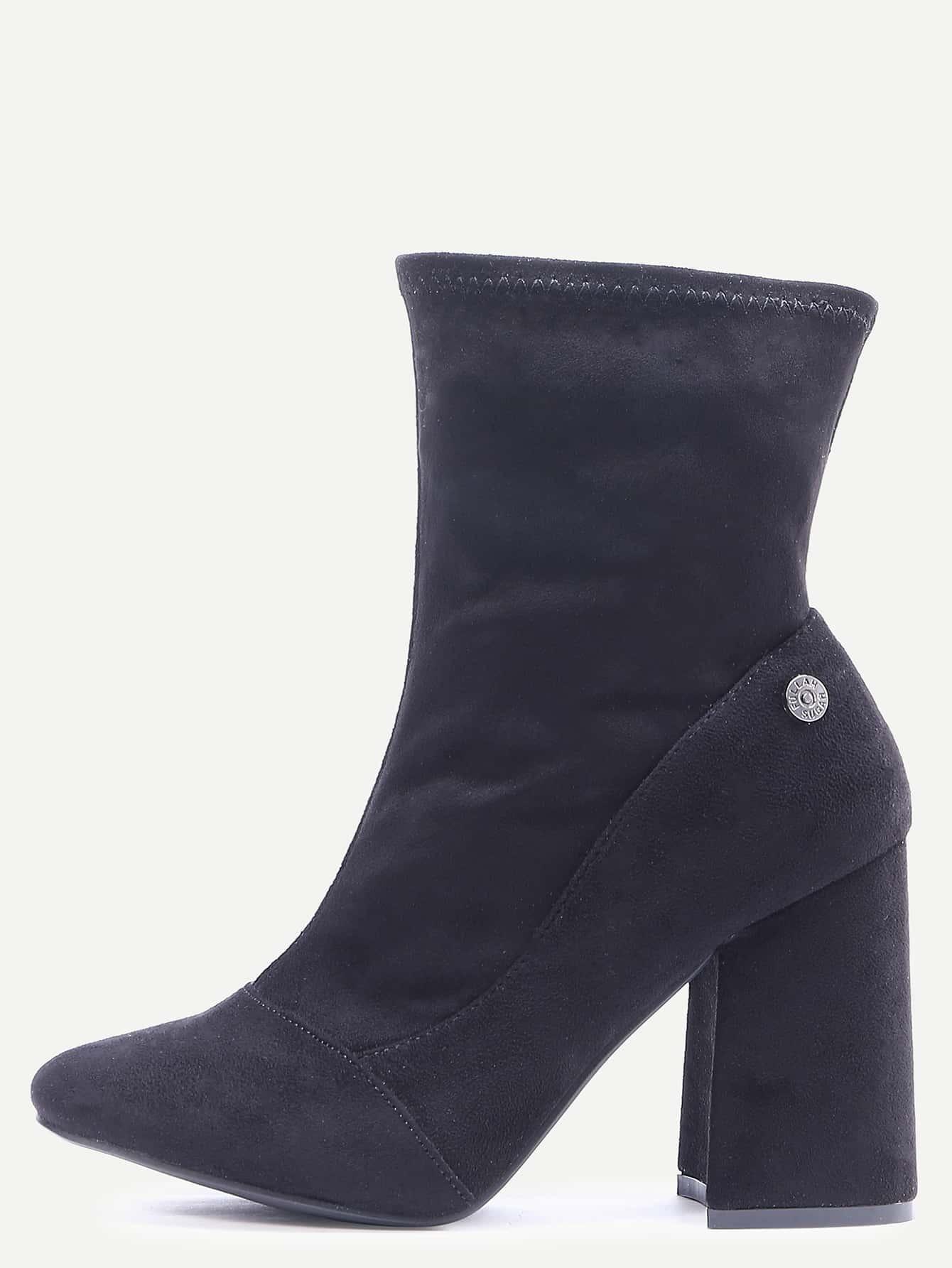 black suede point toe high heel boots shein sheinside