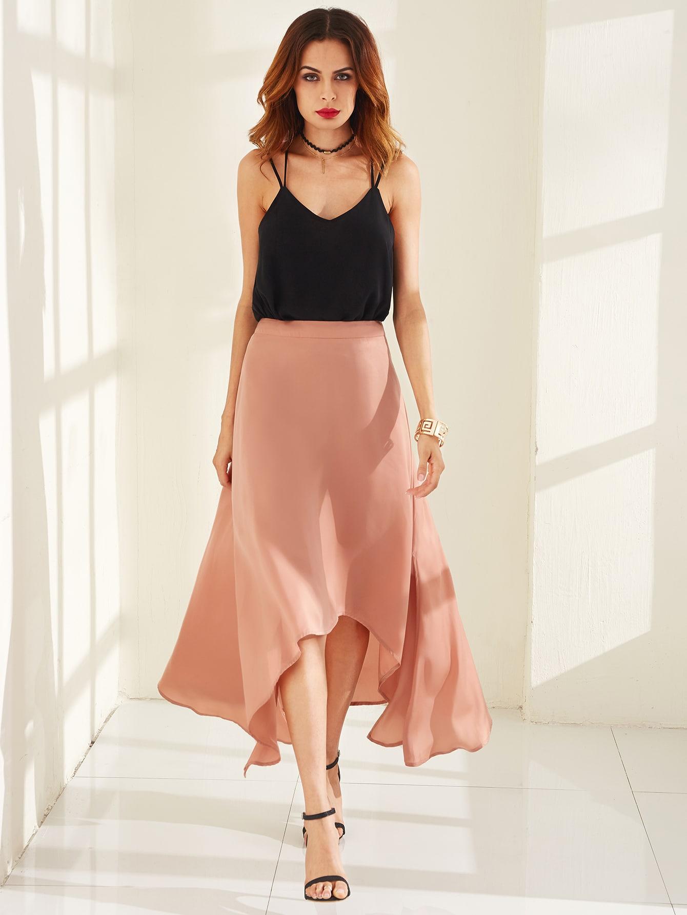 Pink Asymmetric A Line Midi Skirt