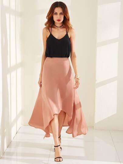Salmon Asymmetric A Line Skirt