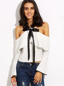 White Cold Shoulder Bow Tie Ruffle Bell Sleeve Blouse