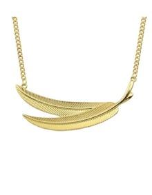 Leaf Shape Long Pendant Necklace