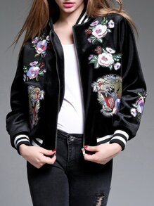 Black Tiger Embroidered Elastic-Waist Jacket