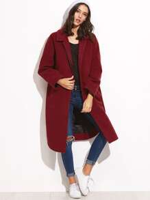 Burgundy Hidden Button Curved Hem Oversized Coat