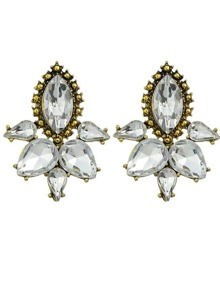 White Gemstone Flower Stud Earring