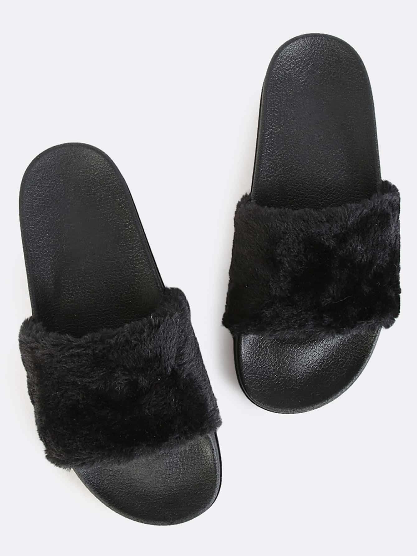 Faux Fur Slide Sandals BLACK -SheIn(Sheinside)