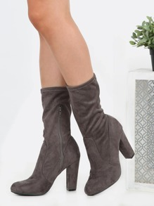 High Shaft Suede Chunky Heel Boots GREY