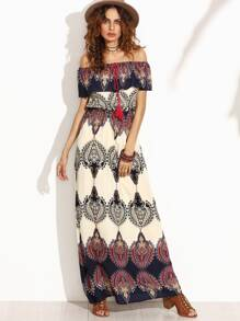 Multicolor Print Off The Shoulder Ruffle Maxi Dress
