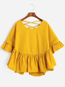 Lattice-Back Ruffle Sleeve Blouse
