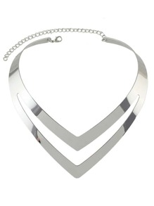 Silver Two Layers Statement Collar Necklace