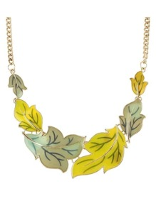 Yellow Enamel Maple Shape Statement Necklace