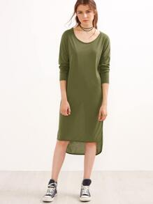 Army Green Drop Shoulder High Low Tee Dress
