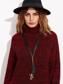 Black Faux Leather Tassel Metal Trim Sweater Necklace