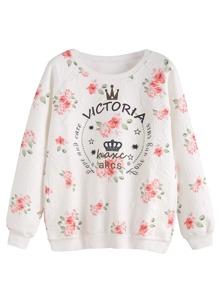 White Floral Print Raglan Sleeve Embossed Sweatshirt