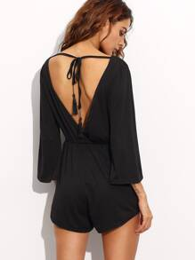 Black V Back Lace Up Fringe Romper