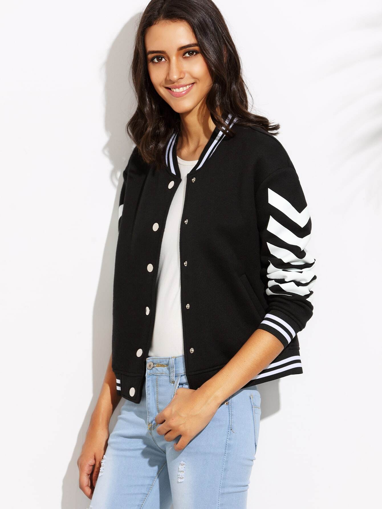 Black Chevron Print Striped Trim Baseball JacketBlack Chevron Print Striped Trim Baseball Jacket<br><br>color: Black<br>size: L,M,S,XS