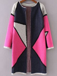 Hot Pink Color Block Collarless Long Cardigan