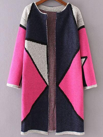 Hot Pink Color Block Collarless Long Cardigan