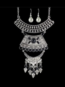 Antique Silver Wedding Jewelry Colorful Rhinestone Necklace Earrings Set