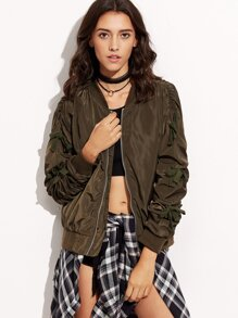 Army Green Shirred Sleeve Bomber Jacket With Tie Bow