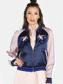 Colorblock Embroidered Satin Bomber Jacket NAVY