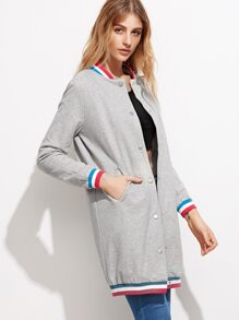 Grey Striped Trim Button Up Long Jacket