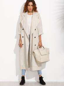 Apricot Lapel Button Long Sleeve Outerwear
