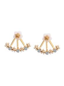 Gold Plated Fan Shaped Rhinestone Flower Stud Earrings
