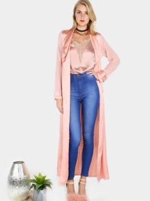 Two Tone Chiffon Satin Belted Duster Coat ROSE