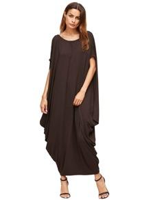 Vestito lungo con maniche pipistrelli - marrone
