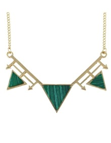 Green Turquoise Triangle Pendant Necklace