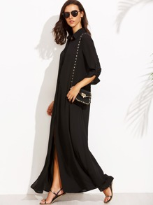 Black V Neck Split Side Maxi Dress