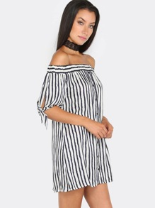 Off The Shoulder Stripe Button Top NAVY