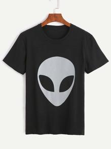 Black Alien Print T-shirt