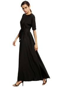 Black Round Neck Maxi Dress