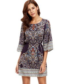 Tribal Print Self-Tie Dress