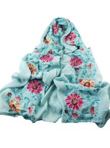 Lightblue Flower Printed Boho Style Wide Cotton Scarf For Ladies